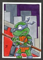 Donatello vs the City sketch card by johnnyism