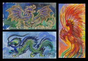 ACEO Dragons 02, 03 and Phoenix 01 by rachaelm5