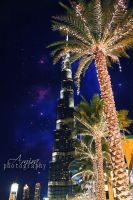 Burj Khalifa and the palms galaxy edition by amirajuli