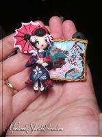 Geisha Picture Pendant for a Necklace by DarkettinaMarienne