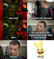 Springtrap eats a Snickers by onyxcarmine