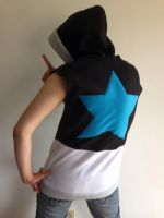 Black Star Sleeveless Fleece Cosplay Hoodie Back by Weeaboo-Warehouse
