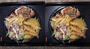 Stereograph - Tempura Shrimp and Grilled Chicken by alanbecker