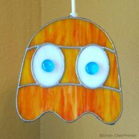 Clyde - PacMan Ghost - Stained Glass Lamp by devilxkat