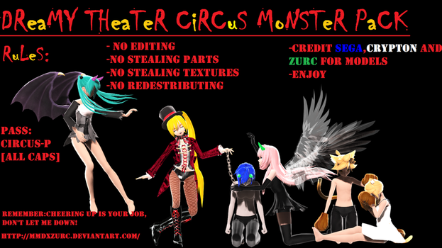 50 WATCHERS GIFT!!!!!!!! DT CIRCUS MONSTER PACK DL by MMDxZURC