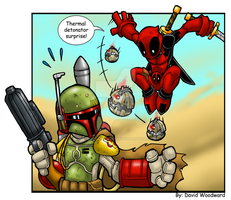 Boba Fett Vs Deadpool by badgerlordstudios