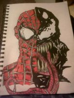 Spiderman and Venom by xZeldaN64x