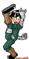 Naruto: Rock Lee flying kick by Uky0