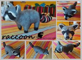 Needle-felted Raccoon by taiyakitsune