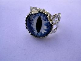 Custom White and Cobalt Glow Ring - Lady Berries by LadyPirotessa