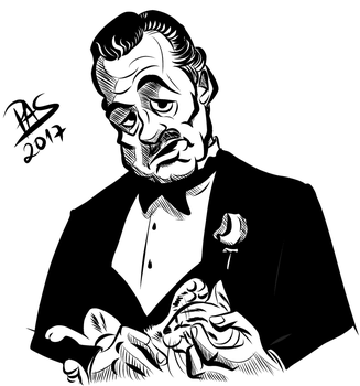Godfather caricature lineart by pedro-amaral-couto