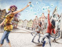 ::bubbles in the sky:: by dzioo