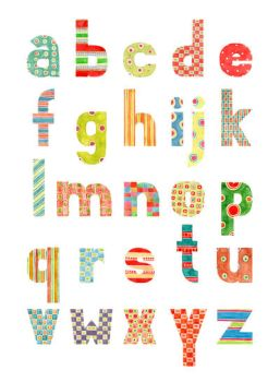 Alphabet - Watercolor patterns - lowercase by gb-illustrations