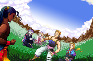 FF6 Party Meets Sabin DigiCol by FanArtGal