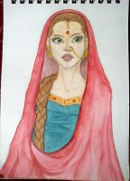 Indian Girl - Watercolor by lapiNaru