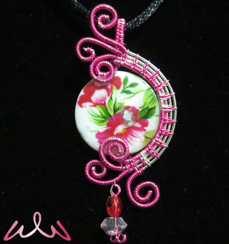 Pink Flowers - Wire-Wrapped Necklace by Witchwater