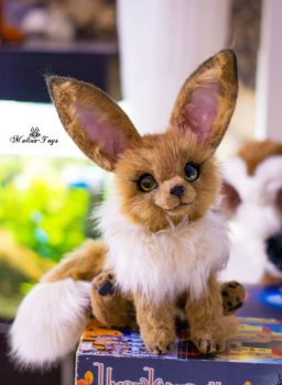 Poseable toy Commission Eevee pokemon by MalinaToys