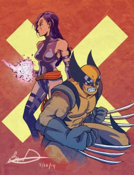 X-men: Psylocke and Wolverine by badokami