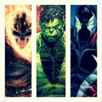 Hulk, Ghost Rider, and Spawn by WARZylon1337