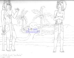 Anubis and Bast Sketch 2 by SonicHomeboy