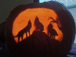 Wolves in Jack O' Lantern by Ryser915