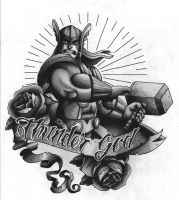 Thor tattoo design Black and Grey version 2 by funkt-green