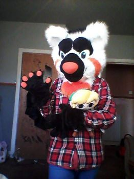 Cipher the animatronic Red panda Fursuit by becca1211zim