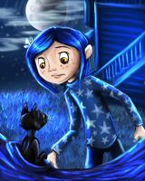 Coraline and the Cat by sharkie19