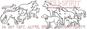 Wolf Group Lineart Tattoo by WildSpiritWolf