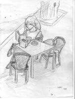 reading in a coffee place by braen