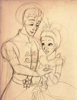 Naveen and Tiana - sketch by kure-chanih