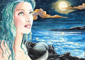 Mermaid under the moon by SilviaDiMauro