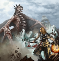 Skyrim: Dovahkiin vs dragon by Adzerak