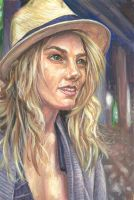 Girl in a straw hat by bleedinghitman