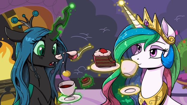 Tea and Sweets with Chrysalis and Celestia by LateCustomer