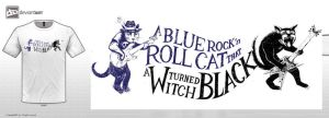 A blue rock'n roll cat that a witch turned black by paintedbrain-nz