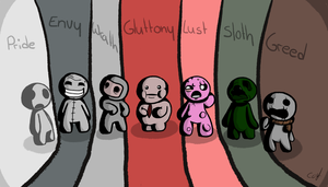 The 7 deadly sins from the binding of isaac by WeegeeCat