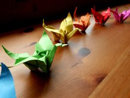 Tsuru Rose - Origami Cranes with a Rose Set by Fail-to-Pale