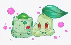Bulbasaur and Chikorita by Loomedai