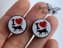 I Love Cats - stud earrings by SamanthaBossy