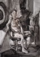 Seated Female Ink Figure by Kunsthaus