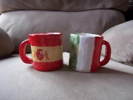 Italy and Spain Mugs by Shewen