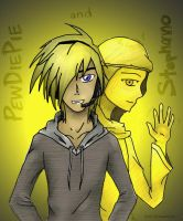 PewDiePie and Stephano [Colored] by StarkFire97