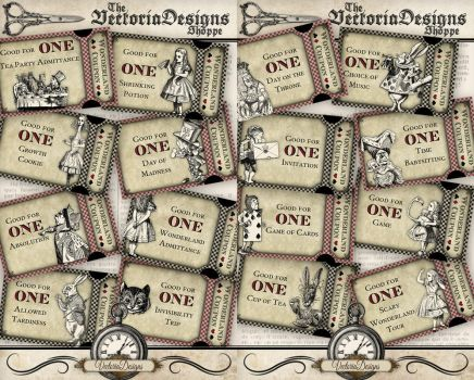 Printable Alice in Wonderland Coupons by VectoriaDesigns