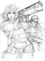 Old Snake and Meryl_MGS4 by aaronminier