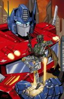 Optimus Prime and Boba Fett Print by John-Stinsman