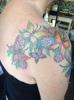 Butterflies and Flowers Shoulder by Green-Jet
