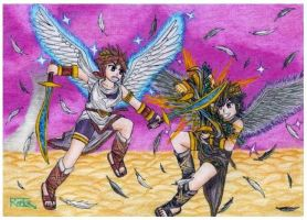 Pit VS Dark Pit - Kid icarus uprising by raptorthekiller