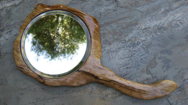 Spalted Maple Hand Mirror by WoodMystics