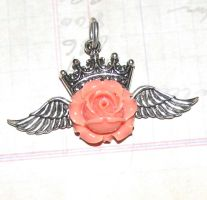 Steampunk Necklace peach rose crown wings $15.00 by GraceCM